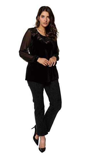 ba3ee8dffb2 Ulla Popken Women s Plus Size Velvet Lace Knit Top Black 16 18 717448 10-