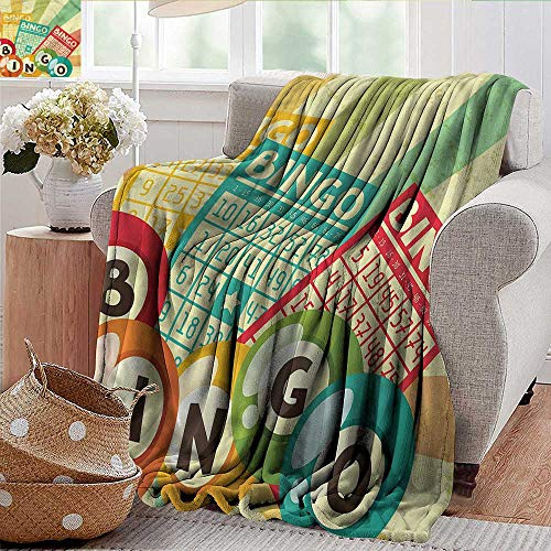 Xaviera Doherty Beach Blanket Vintage,Pop Art Cards Lottery Microfiber All Season Blanket for Bed or Couch Multicolor 30