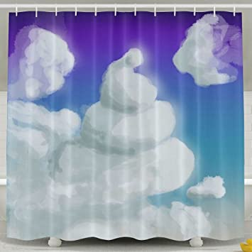 Roomy6 Poop Cloud Bathroom Decor Shower Curtain 6072 Inch With Hooks