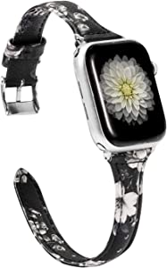 Wearlizer Floral Black White Thin Leather Compatible with Apple Watch Band 38mm 40mm Womens for iWatch SE Wristband Flower Printed Replacement Strap (Metal Silver Clasp) Series 6 5 4 3 2 1 Sport