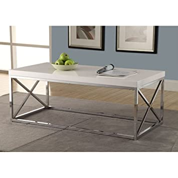 High Quality Monarch Specialties Metal Cocktail Table, Glossy White/Chrome