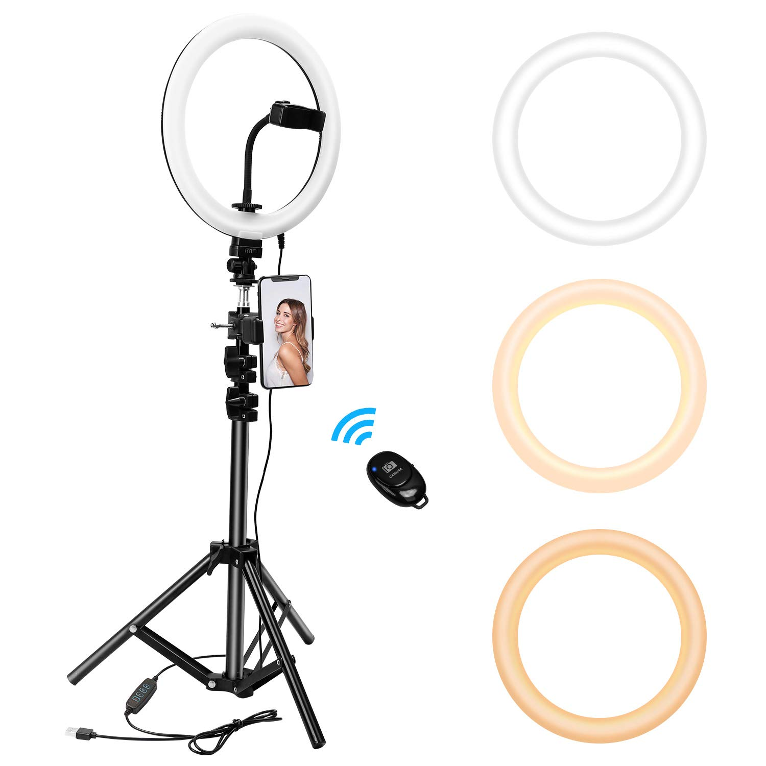 10'' Ring Light with Tripod Stand&Cell Phone Holder for Live Streaming/Makeup,Livelit Mini Desktop Camera Selfie Ringlight for YouTube Video Photography Compatible with iPhone Android(10'' Ring Light) by Livelit