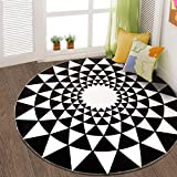Design Round Rug Door Living Room European Bedroom Decorative Carpet Bedside Computer Chair Hanging Basket Study Stairway Stairway Carpet ( Color : Black and white , Size : 120120cm )
