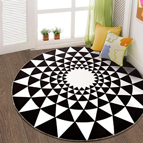 Design Round Rug Door Living Room European Bedroom Decorative Carpet Bedside Computer Chair Hanging Basket Study Stairway Stairway Carpet ( Color : Black and white , Size : 100100cm )