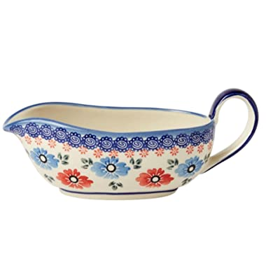 "Polish Pottery Blue Red Floral Gravy Boat, Ceramika Wiza Boleslawiec, 8.25""L x 3.5""W x 3.25""H (12-oz. Capacity)"