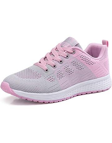Zapatillas de Deportivos de Running para Mujer Gimnasia Ligero Sneakers Negro Azul Gris Blanco 35-