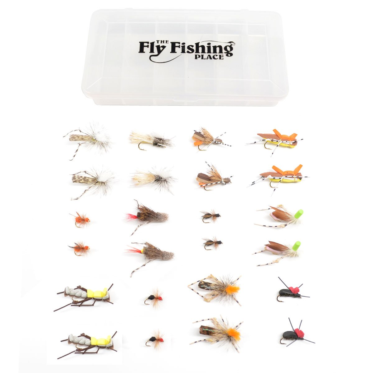 Includes Foam Hoppers Essential Terrestrials Fly Fishing Flies Collection Beetles 2 Dozen Trout Flies with Fly Box and Cicadas Trout Fly Assortment Ants