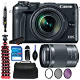 Canon EOS M6 Digital Camera With (Silver) 18-150mm f/3.5-6.3 IS STM Lens + Tripod + 32GB Memory Card + Filter Kits + Pixi Pro Bundle for M6