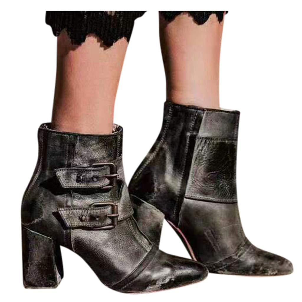 BIKETAFUWY Womens Buckle Strap Booties Pointed Toe Thick High Heel Casual Shoes Western Knight Booties
