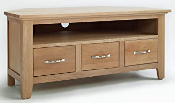 Hallowood Camberley 3 Drawer Corner Tv Cabinet With Light Oak Finish