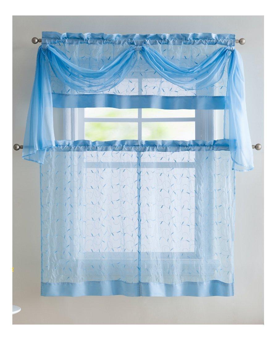 Home Linen Leaf Embroidered Complete Kitchen Curtain Set - Blue