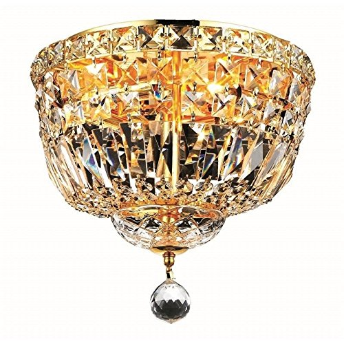 Elegant Lighting 2528F12G/RC Royal Cut Clear Crystal Tranquil 4-Light, Single-Tier Flush Mount Crystal Chandelier, Finished in Gold with Clear - Single Traditional Chandelier Tier