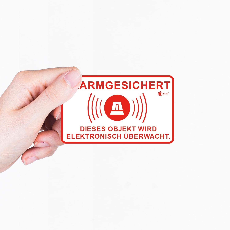 10er Aufkleber-Set Alarm-gesichert I 10 x 6 cm I Achtung Objekt wird elektronisch /überwacht I f/ür Fenster-Scheibe und T/ür I au/ßenklebend wetterfest I hin/_553