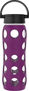 product image for Lifefactory 22-Ounce BPA-Free Glass Water Bottle with Classic Cap and Protective Silicone Sleeve, Plum