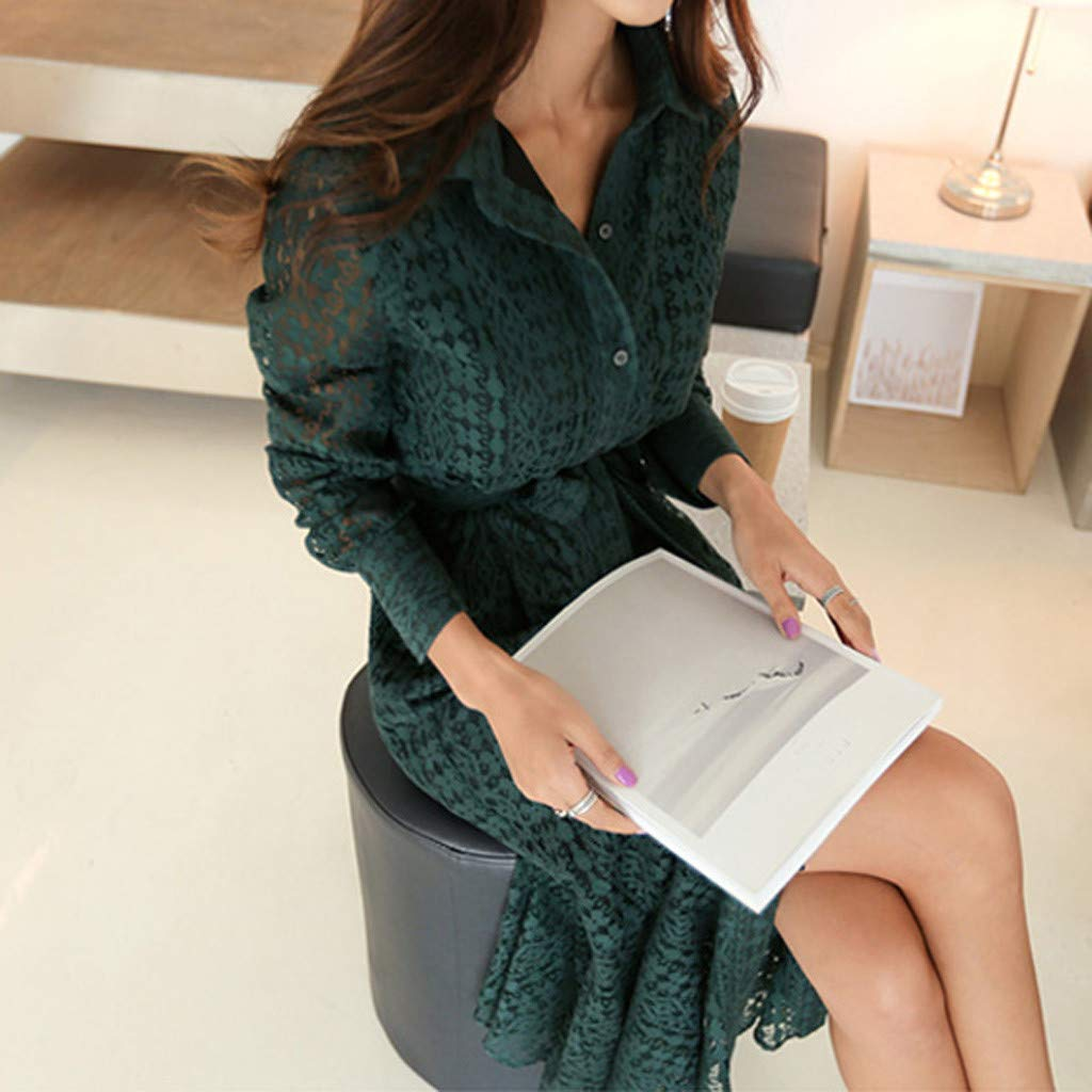 Women Ladies Office Lace Sexy Long Sleeve Tie Up Button Down Mermaid Flare Dress Green by LUXISDE (Image #5)