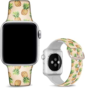 DOO UC Floral Bands Compatible with iWatch 38mm/42mm/40mm/44mm, Floral Chevron Silicone Fadeless Pattern Printed Replacement Bands for iWatch Series 5/4/3/2/1, M/L for Women/Men
