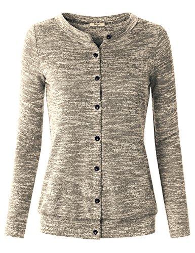 Sweater Cardigan,Timeson Women's Long Sleeve Button Down Crew Neck Knit Cardigans Sweaters Light Beige Medium
