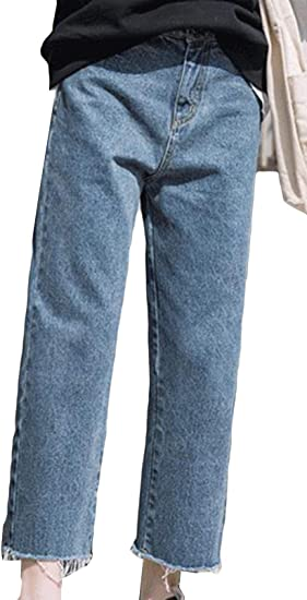 Aisaidunジーンズ レディース ジーンズ パンツ ストレート 秋 冬 ハイウエスト ワイドパンツ 着痩せ 韓国風 ジーパン 九分丈 防寒 アウトドア ボトムス ズボン