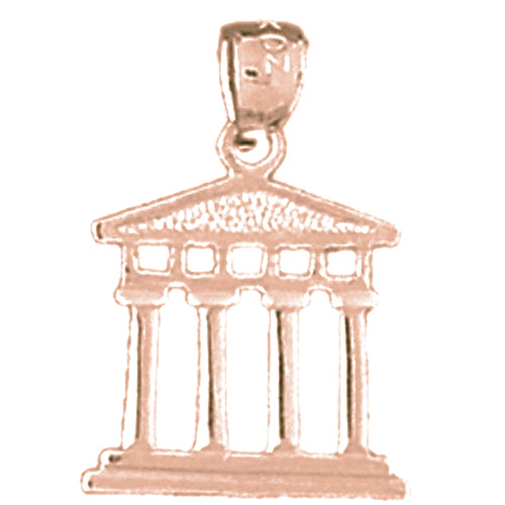 14K Rose Gold-plated 925 Silver Greek Acropolis Pendant with 18 Necklace Jewels Obsession Greek Acropolis Necklace