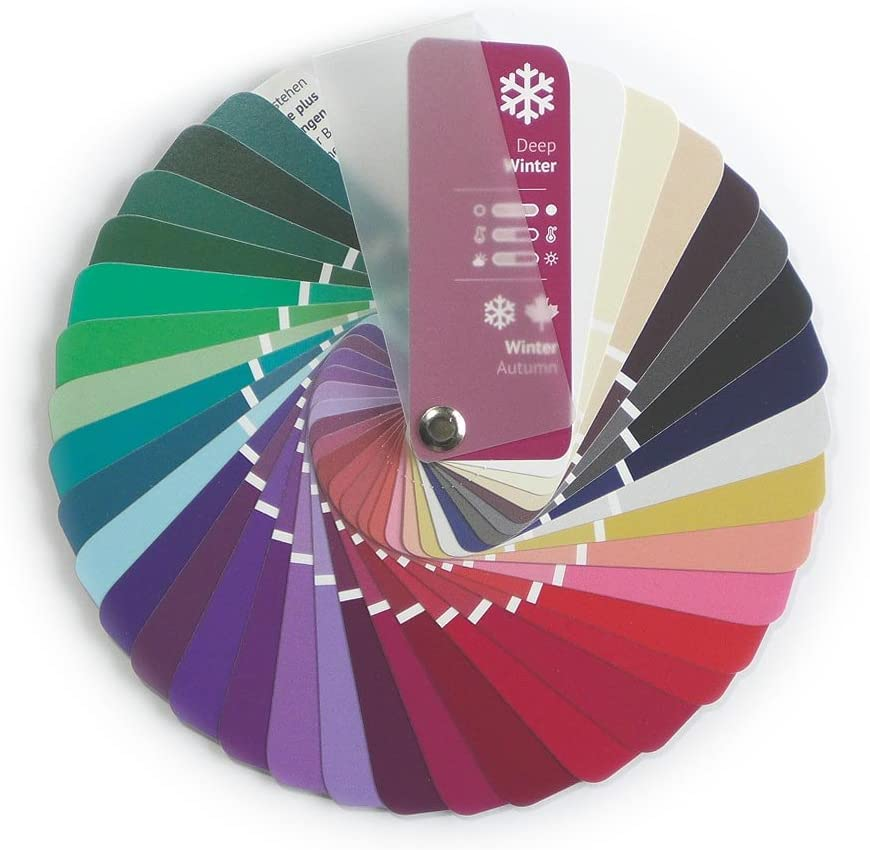 Color Swatch Fan Clear Winter with 35 Colors for Color Analysis and Image Consulting