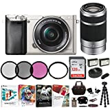 Sony Alpha a6000 Mirrorless Camera w/16-50mm & 55-210mm Lenses & 128GB Bundle - Silver