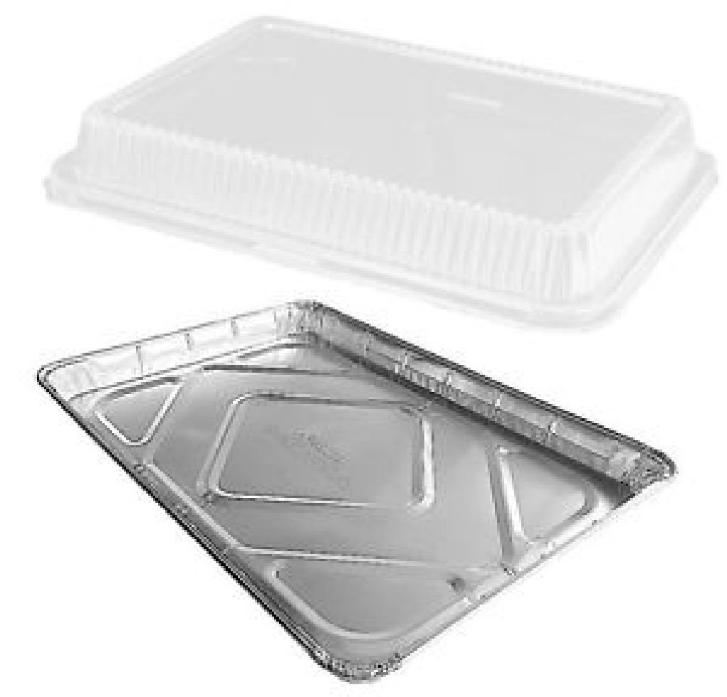 Half 1/2 Size Aluminum Foil Sheet Cake Pan w/Clear High Dome Lid 100s
