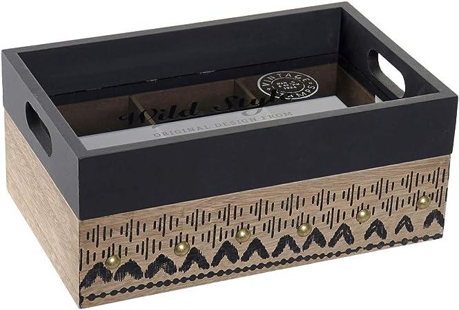 Hogar y Mas Bandeja Caja Infusiones y Té de Madera con 6 Compartimentos. Set de 2 Almacenaje de Cocina Vintage 24X15X10 cm: Amazon.es: Hogar