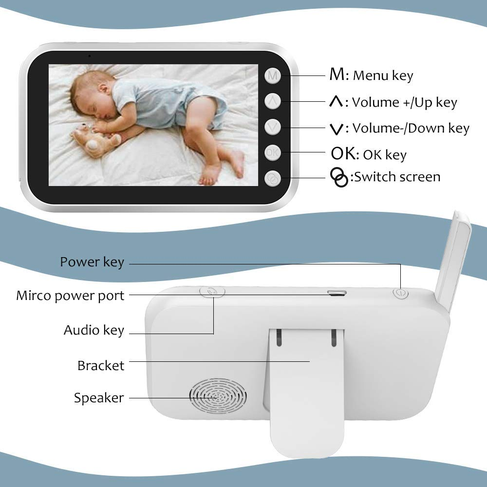 Baby Monitor, Bindouf Wireless Video Monitor with Camera Video 4.3 Inch LCD Digital Screen for Night Vision Temperature Sensor, 2-Way Talk Long Range, 8 Lullabies Sound Activation Audio Baby Monitor