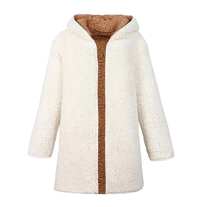 Luckycat Chaqueta dicroica de Abrigo de Lana Artificial para Mujer Chaqueta de Abrigo de Invierno para