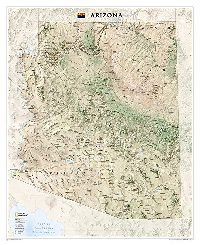 Map Wall Arizona - National Geographic: Arizona Wall Map - Laminated (33 x 40.5 inches) (National Geographic Reference Map)