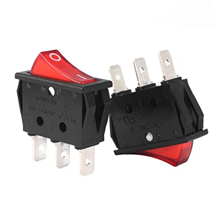 uxcell 10Pcs AC 20A//125V 22A//250V SPST 3 Pin 2 Position Boat Rocker Switches On Off with Red Backlit LED Light