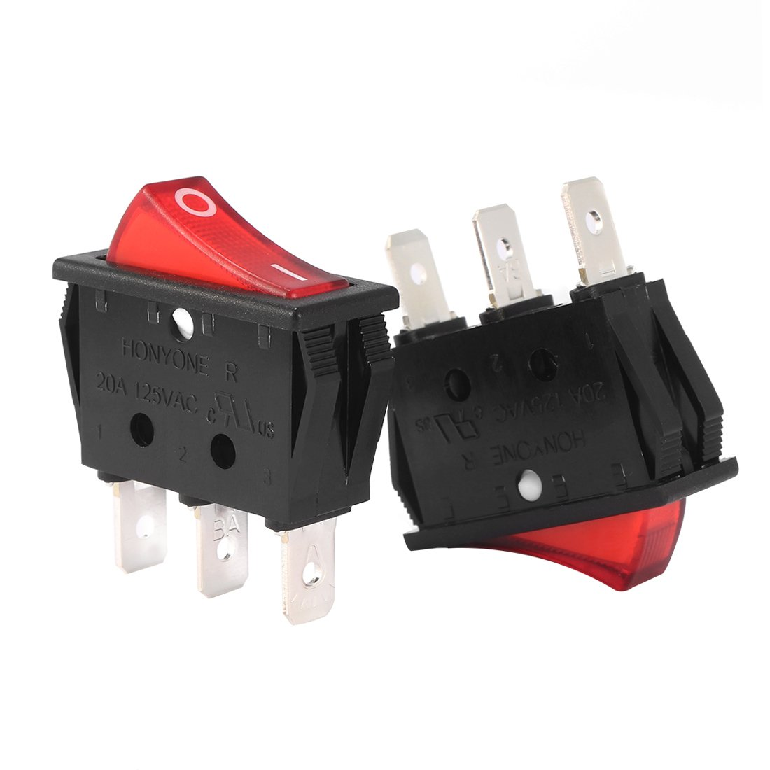 uxcell 10Pcs AC 20A/125V 22A/250V SPST 3 Pin 2 Position Boat Rocker Switches On Off with Red Backlit LED Light