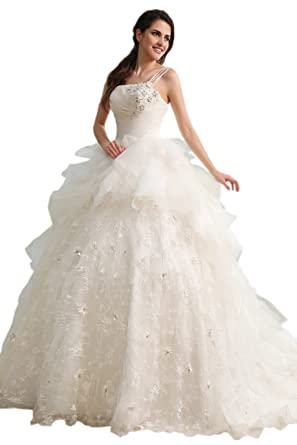Robe De Mariée Princesse Ornée De Dentelle Et Perles