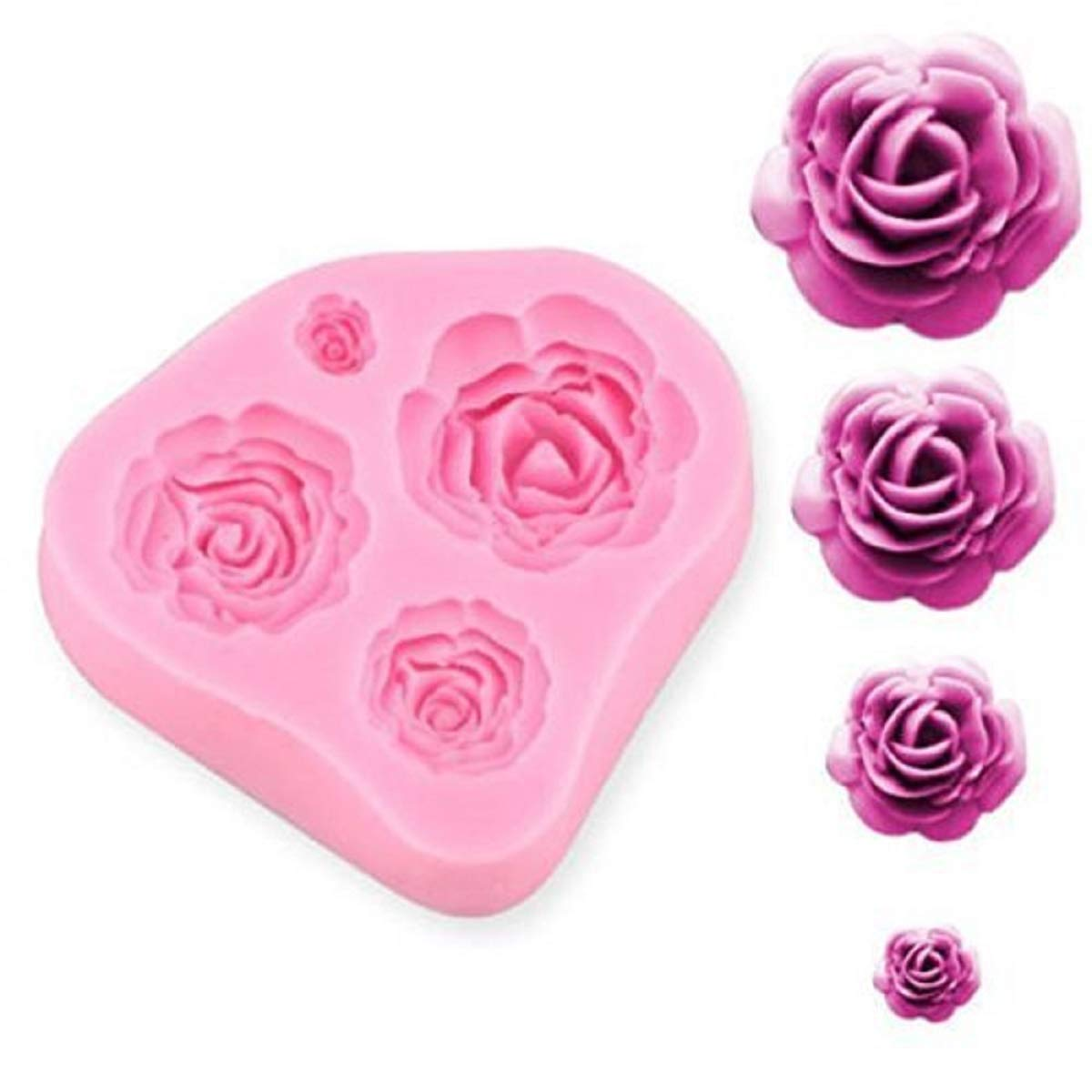 SUNKOOL NW-028 Roses Flower Silicone Cake Mold Chocolate Sugarcraft Decorating Fondant Fimo Tools 4 Size Pink 1 Piece Ninewell
