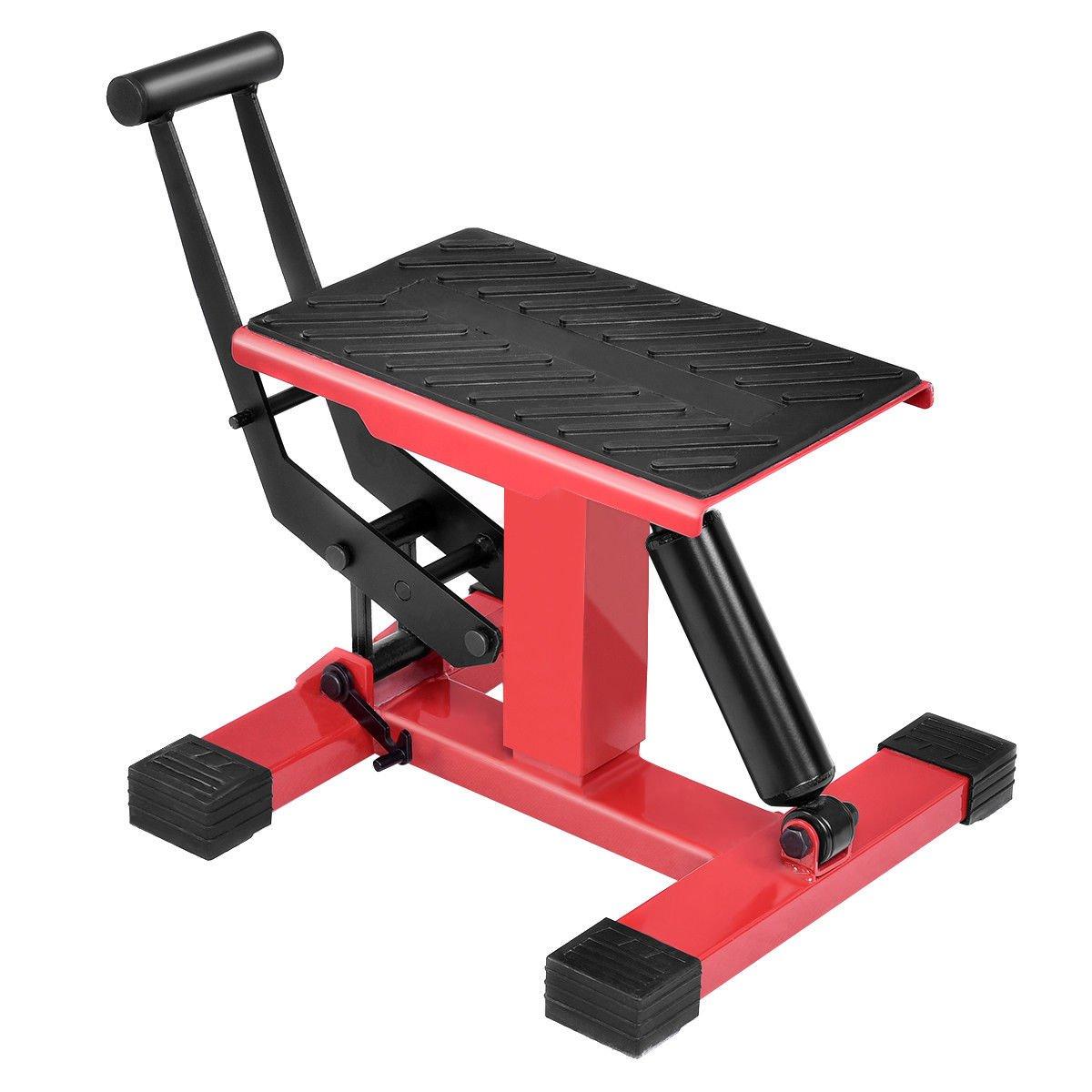GHP 330-Lbs Black & Red Steel Height Adjustable Anti-Slip Motorcycle Bike Lift Table