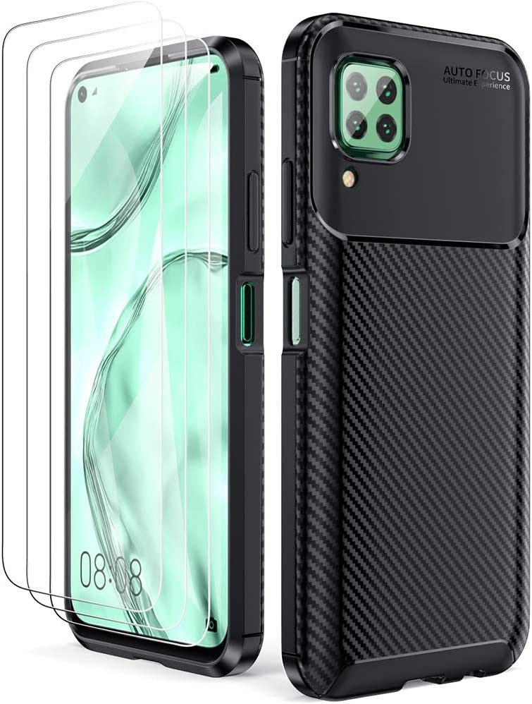 Oududianzi Funda Huawei P40 Lite + Textura de Fibra de Carbono Negro , 3X Protectore de Pantalla in Cristal Templado Carcasa de Armadura Resistente Funda de Silicona Suave y Delgada