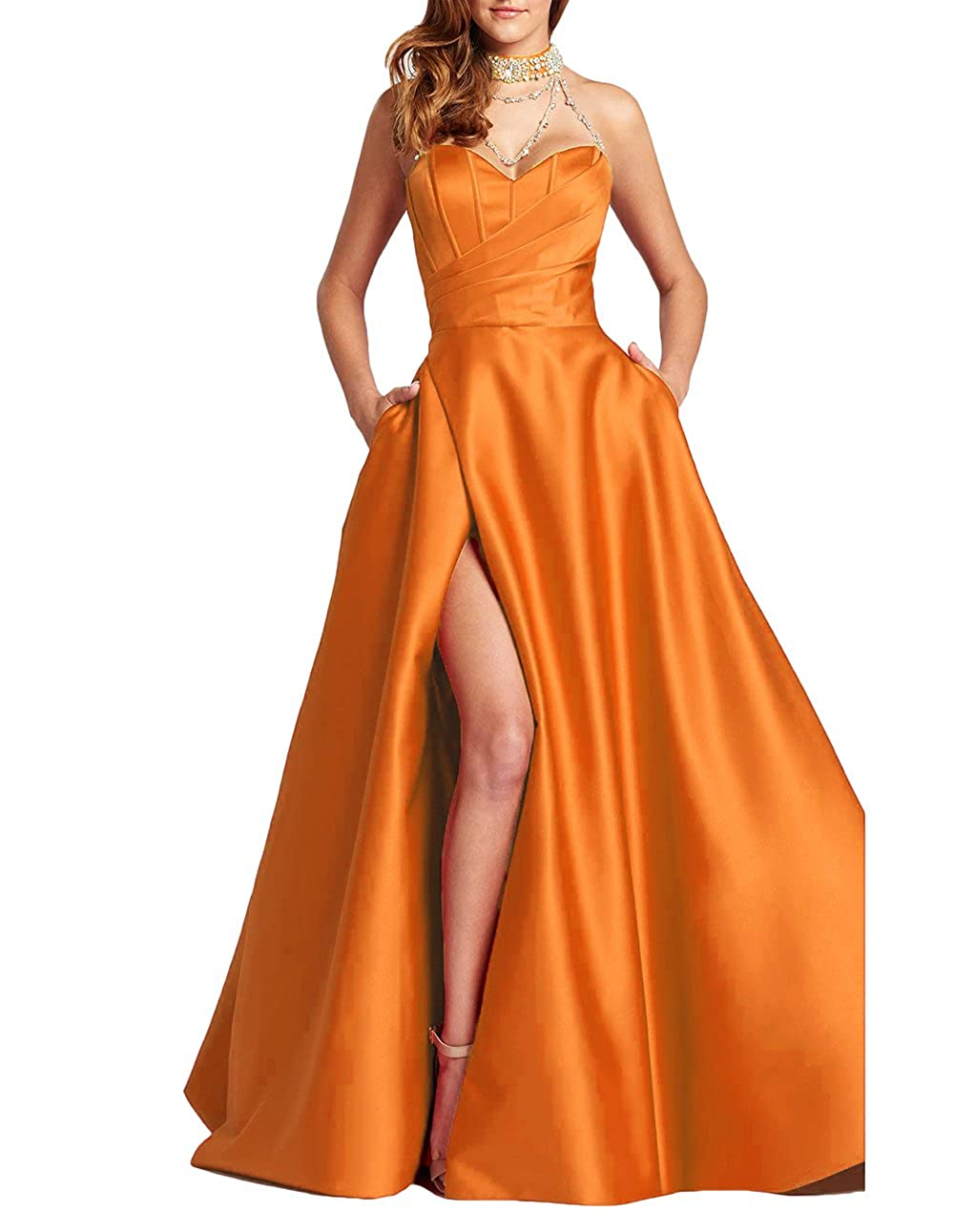 Aorange alilith.Z Sexy Sweetheart Side Slit Beaded Prom Dresses Long Formal Evening Dresses Party Gowns for Women with Pockets
