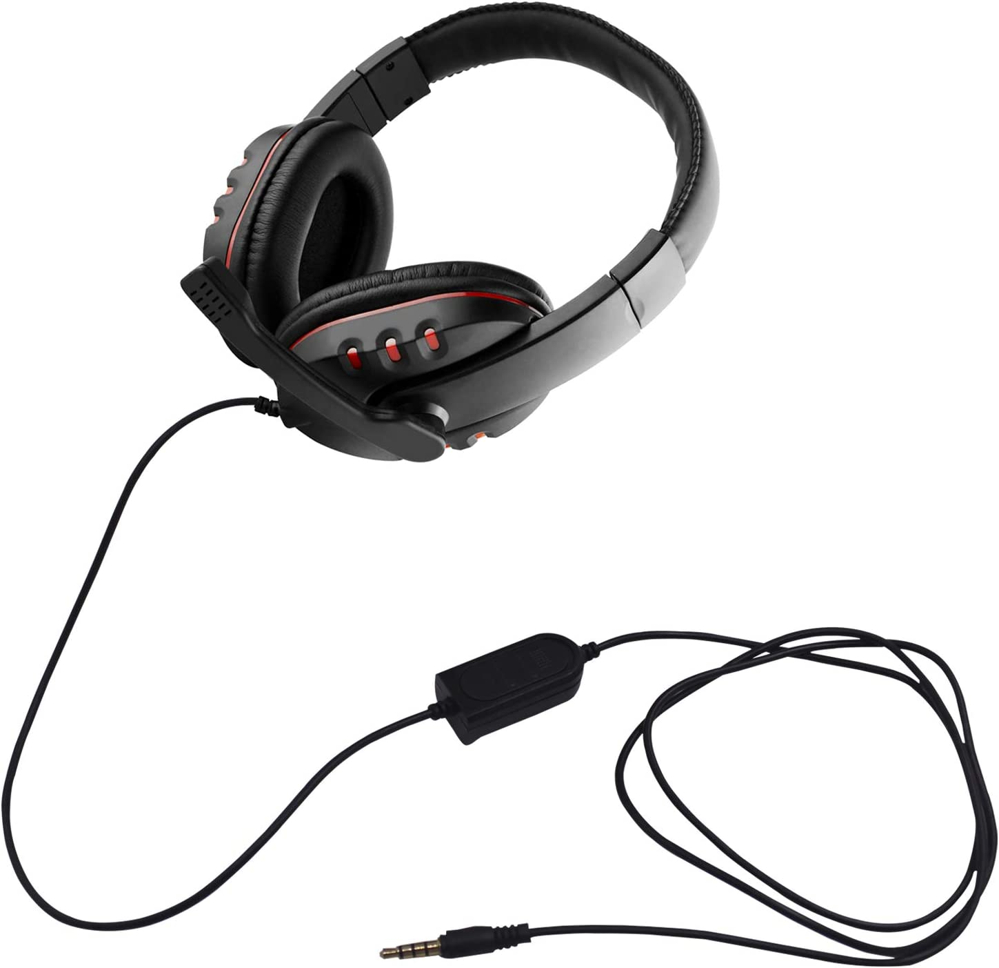 PC Soft Memory Earmuffs Gaming Headset Compatible with Laptop PS4 Red Xbox One Controller SourceTon Noise Isolating Over Ear Headphone with Microphone and Volume Control Black