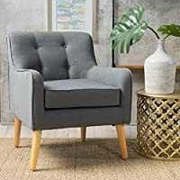 Fontinella Mid Century Tufted Back Fabric Arm Chair (1, Charcoal)