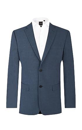 Dobell Veste de Costume Homme Bleu Foncé Coupe Cintrée - 2 Boutons Revers  Cranté 464f5a2650f