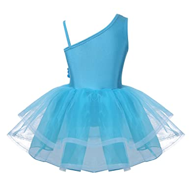 Freebily Mädchen Ballett Kleid mit Tütü Rock Tanzkleid Ballettkleid Ballettanzug Ballettbody Balletttrikot Turnanzug in Rosa