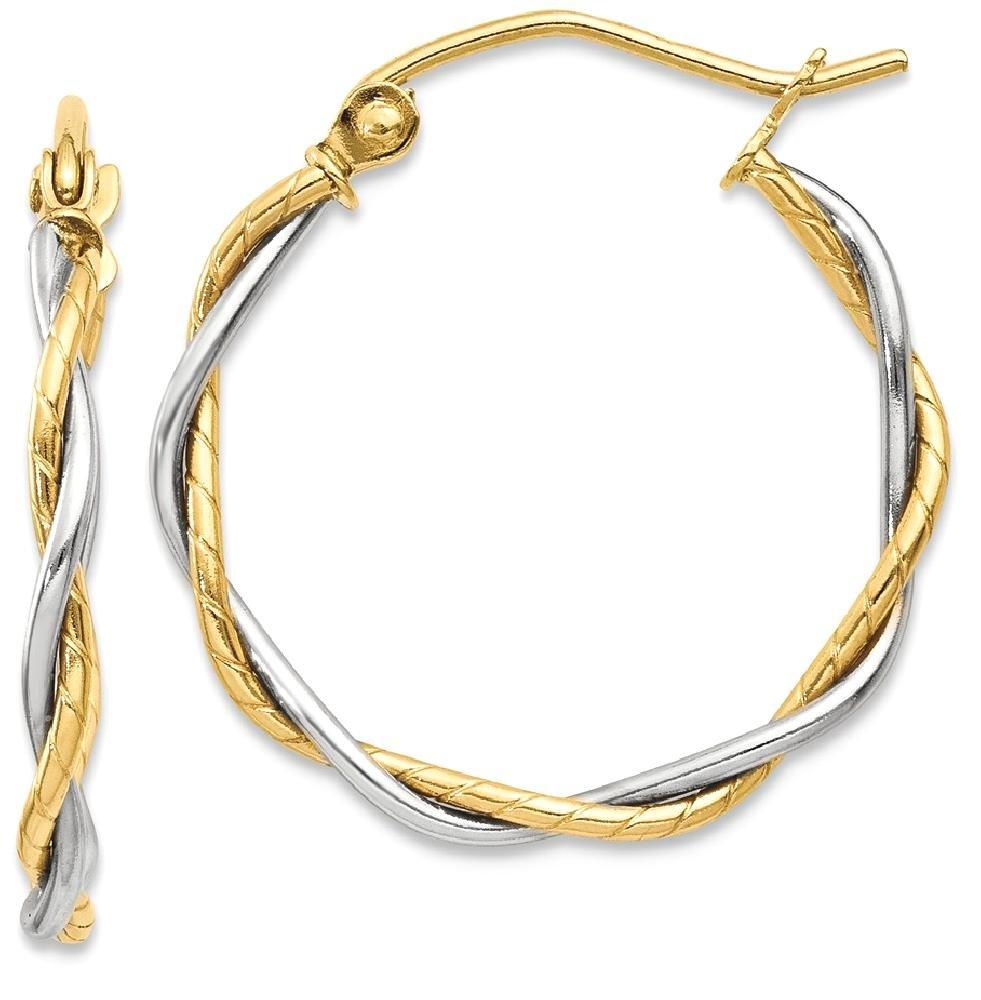 ICE CARATS 14k Two Tone Yellow Gold 1.8mm Twisted Hoop Earrings Ear Hoops Set Fine Jewelry Gift Set For Women Heart