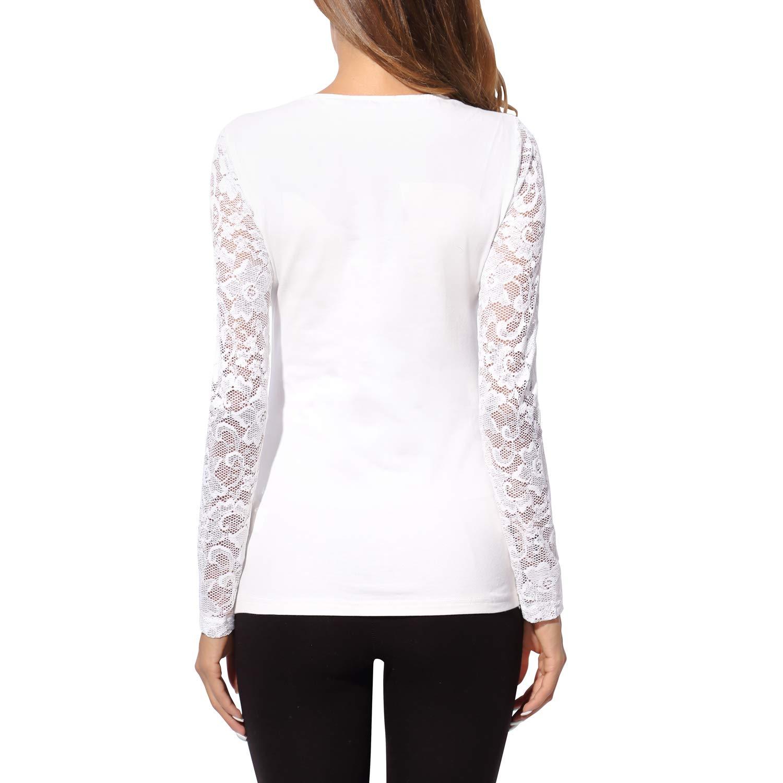 V-Neck Floral Lace Maglia a Manica Lunga T-Shirt Donna DJT