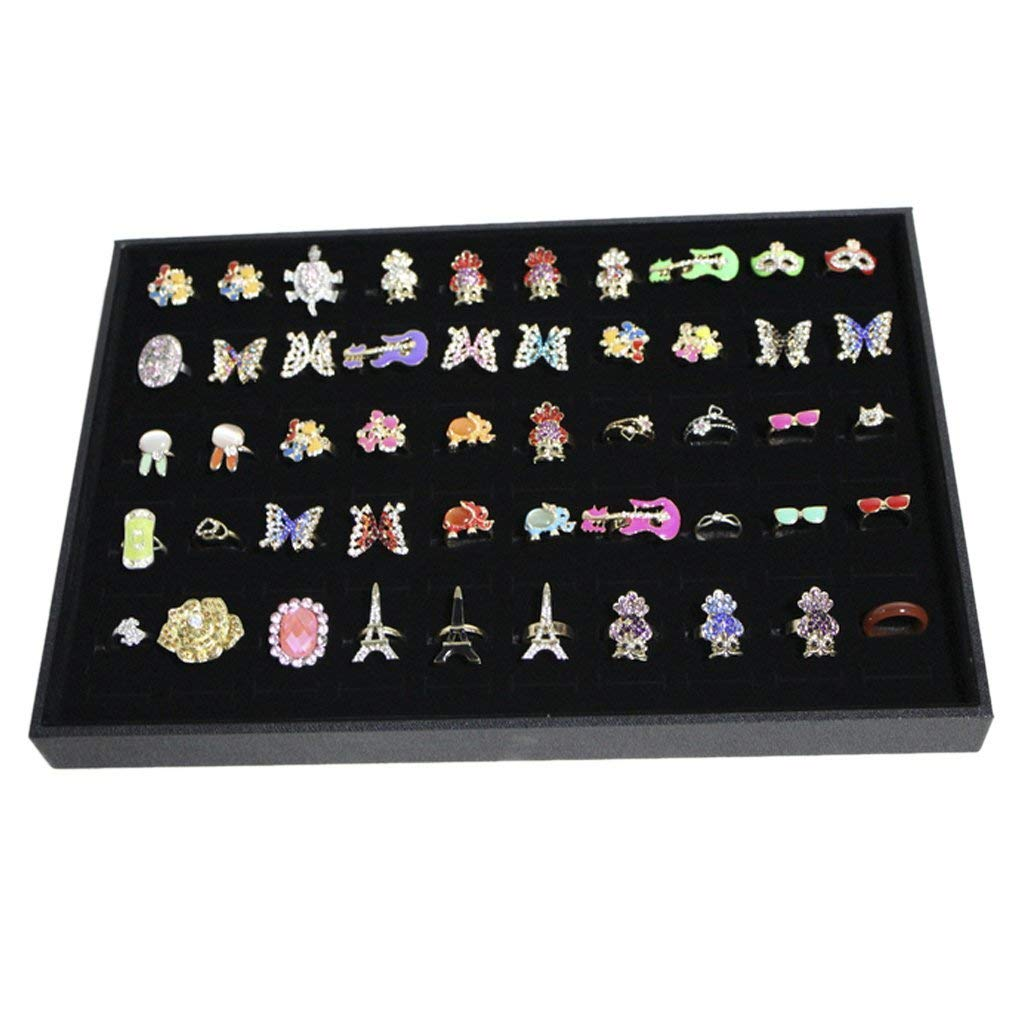 Fishinnen 100 Slots Grid Ring Earring Ear Pin Brooch Tray Jewellery Display Storage Box Tray Case Organiser
