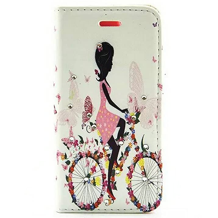 "iPhone 6S Case,iPhone 6 Case,iPhone 6/6S Wallet Case,EMAXELER[Butterfly Fairy][Flower]Inlaid Shiny Glitter Diamond Pu Leather Flip Protective Cover with Stand For iPhone 6/6S(4.7"")Bike Girl"