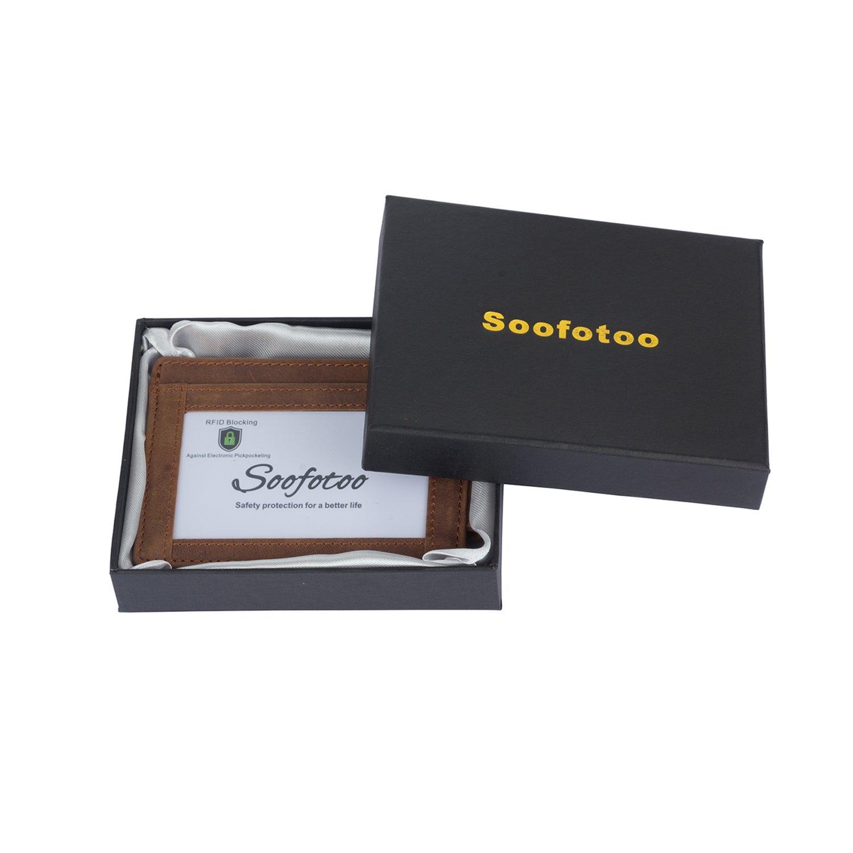 Soofotoo Echtes Leder Geldscheinklammer Leistungsstarke Magnete Geldscheinklammern Minimalistische Kartenmappe mit RFID-Blockierung Stop Elektronischer Taschendieb