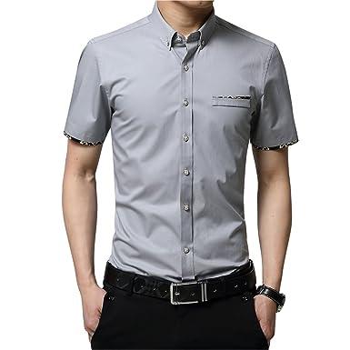 dad45e4619cb9 (ローコララ)Luocolala メンズシャツ 半袖 ワイシャツ ビジネス ボタンダウン 綿高率 白 ワイシャツ
