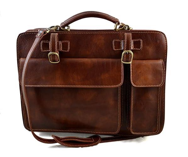d98e35c9ff Cartella pelle uomo donna marrone opaco valigetta 24 ore borsa pelle a mano  e tracolla borsa