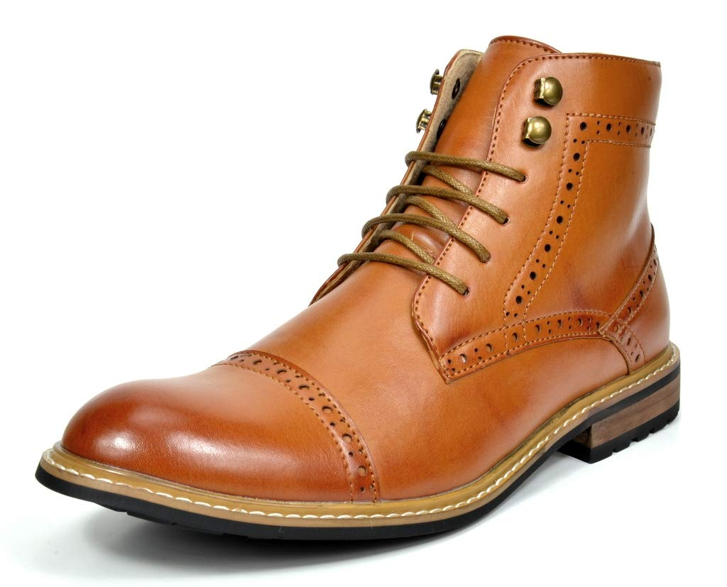 Bruno Marc Men's Bergen-03 Brown Leather Lined Oxfords Dress Ankle Boots Size 9.5 M US