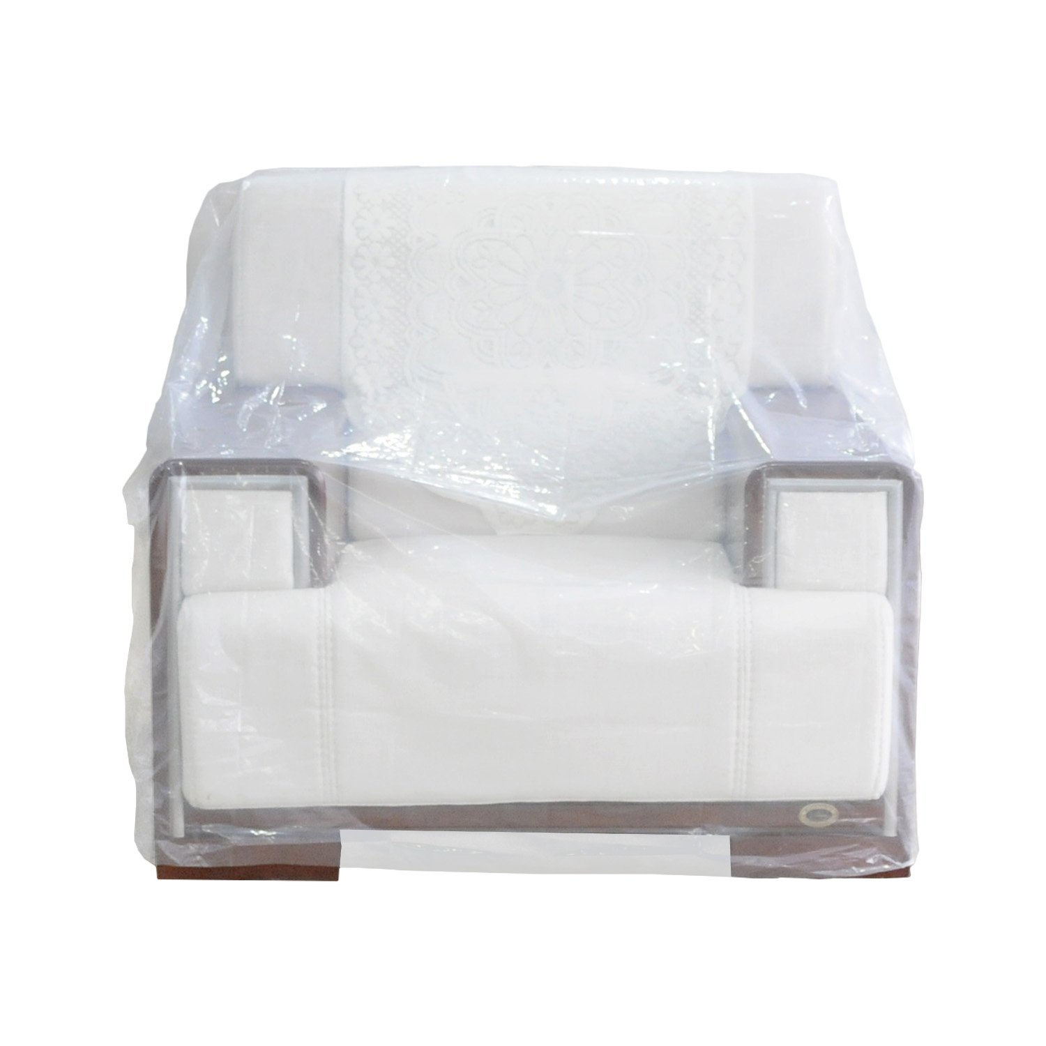 TopSoon Plastic Armchair Cover Sofa Cover Furniture Bags for Moving 46-inch by 76-inch Clear(Pack of 2)